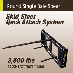 Round Single Bale Spear - Skid Steer Quick Attach System